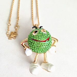 Green M and M man Betsey Johnson pendant necklace
